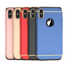 Wholesale Plastic Electroplating - iPaky Case For iPhone X PC Hard Back Cover 3 In 1 Detachable Hybrid Electroplating Brushed Cases With Retail Package In Stock Wholesale