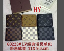 Wholesale pocket square pattern - 2017 new bag Free shipping billfold High quality Plaid pattern women wallet men's pures high-end luxury brand designer wallet with box