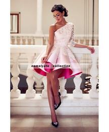 Wholesale One Shoulder Dresses For Juniors - 2018 Said Mhamad One Shoulder Pink Cocktail Dresses for Juniors for Women Homecoming Gowns Partys Plus Size Formal Gowns Vestido De Festia