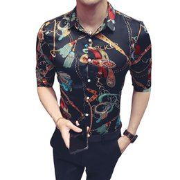 7c21145e084 2018 summer print short-sleeved shirt hair stylist Slim youth Korean version  of the trend of personality personalized sleeve shirt
