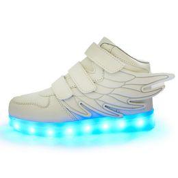 Дети мальчики обувь крылья онлайн-Дети привели обувь для детей повседневная мульти 6 Цвет Крылья обувь красочные светящиеся мальчики и девочки кроссовки USB зарядки загораются обувь