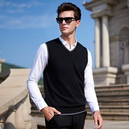 Wholesale Black Sweater Vest Men - Spring 2017 Men's Fashion Boutique Pure Color Leisure V-neck Sleeveless Sweater Male Slim Business Casual Knitting Sweater Vest