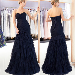 13fcc92d9d China 2019 Azul marino con gradas Faldas Vestidos de baile Longitud del  piso fruncido Diseñador de