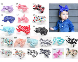 Wholesale baby wide headbands - Baby Headbands Floral Dot Bow Hairbands Girls Bunny Ear Headbands Kids Turban Knot Wide Soft Headwear Hair Accessories