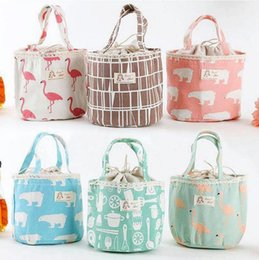 Wholesale thermal insulated pouch - Portable Bear Flamingo Insulated Drawing String Lunch Bag Cartoon Animal Picnic Pouch Bag Thermal Food Lunch Box Bag OOA4570