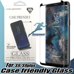 Wholesale Galaxy Note 3d Cases - For Samsung Galaxy S9 Note 8 S8 Plus S7 Edge Case Friendly Full Cover Tempered Glass Screen Protector Not Full Cover with Package