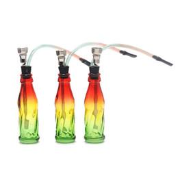 Gomme usate online-HoneyPuff Glass Reggae Colour Bottle Water Smoking Pipa in gomma con manico in plastica porta tabacco in metallo facile da usare
