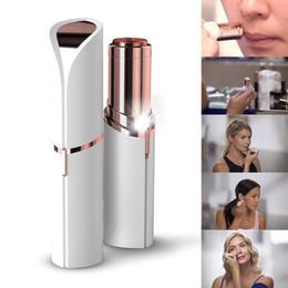 Canada 2018 nouveau rouge à lèvres visage épilateur visage épilation épilateur indolore plaqué or Remover avec boîte de détail livraison gratuite Offre