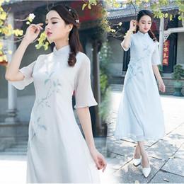 ae62ddb43d8a 2019 abiti etnici abito tradizionale Abbigliamento tradizionale cinese Donne  Elegante stile etnico Stampa Abito mezza manica