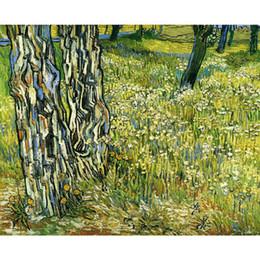 2019 pintura al óleo hierba Pinturas al óleo de Vincent Van Gogh Troncos de árboles en la reproducción de la lona de la hierba de alta calidad pintada a mano pintura al óleo hierba baratos