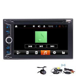 Coche teledirigido del volante online-Coche DVD Doble Din In-Dash GPS Control de dirección de la navegación FM AM RDS Bluetooth USB SD mp3 mp4IR Control remoto + Cámara de copia de seguridad inalámbrica