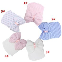 Wholesale Cotton Knit Beanies Kids - newborn baby crochet beanie hats toddler kid knit hair accessories infant boy bonnet baby winter cotton photography caps baby hair bow caps