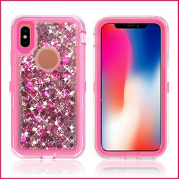 Wholesale Bling Defender Iphone Cases - For iPhone X 8 7 Plus 6 6s Plus Samsung Note 8 S8 Plus Bling Liquid Quicksand Crystal Robot Case Defender Hybrid Cover