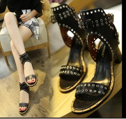 Wholesale American Classic Shoes - European American New Women sandals rivet chunky Heel Ankle Straps High-heeled Open toe Solid color Women's shoes