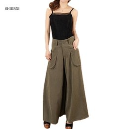 Wholesale Wide Leg Pants Culottes - 2017 new summer plus size culottes fashion wide leg pants women's full length trousers