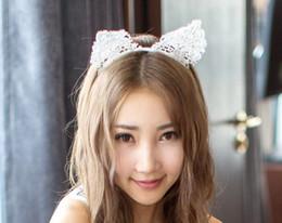 Linda diadema negra online-Suministros de Navidad orejas de gato diadema de encaje sexy accesorios de encaje negro lindo gato mujer diadema femenina