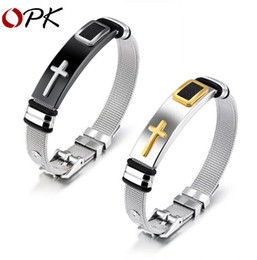 Wholesale Rope Watch Men - Fashion Stainless Steel Watch band Strap Bracelet Men Watchband Wristband Pulseras Black Or Gold Color Bangle Cross Jewelry