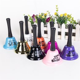 Wholesale paper table decorations - Metal Bar Restaurant Table Bell Charms Multi Color Hand Bells Originality Wedding Birthday Party Decoration 3 85aq C RW