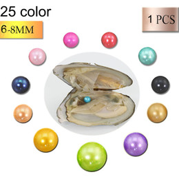 Wholesale Oyster Black - 2018 wholesale 25color Akoya Pearl Oyster Round 6-8mm freshwater natural Cultured in Fresh Oyster Pearl Mussel Farm Supply