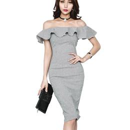 Wholesale Bardot Dress - 2018 Spring Summer Gingham Dress Women Off The Shoulder Frill Front Split Knee Length Bodycon Checked Dress Sexy Bardot