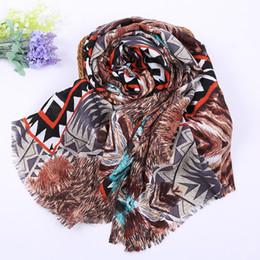 Wholesale Korean Style Scarves - The Korean version of 2016 new printing folk style retro scarf fringed shawl scarf geometric