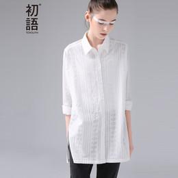 Wholesale Sleeveless Long Blouse White - Shirts 2017 Spring New Women Jacquard Geometrical Turn Down Collar Cotton Ladies Long White Blouse