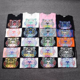 Wholesale high quality women t shirt - 2018 Summer New 20 Colors KENZ Tiger Head Printed shirts High Quality Cotton Short Sleeve Breathable Men Women Outdoor Streetwear T-shirts