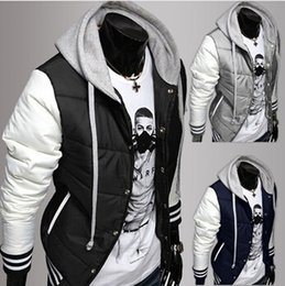 Wholesale Parka Style Jacket Men - New Fashion Men's Leisure Hooded Spell Color Baseball Style Coat Winter Active Casual Parka Cotton Jacket