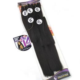 afro, das haareinschlagfaden trägt Rabatt Synthetische Haarbündel Yaki gerade Haarwebart Bundles verworrene gerade 8-14 Zoll schwarz synthetische Nähen in Haarverlängerungen Afro Doppelschuss