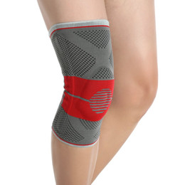 Wholesale Basketball Leg Gear - Knitting Knee Brace Support Elastic Breathable Silicone Pad Massage Basketball Running Sports Safety Leg Knee Protective Gear