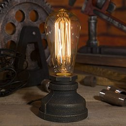 Wholesale Industrial Tables Vintage - Lighting Loft E27 Vintage Industrial Metal Edison Desk Lamps Steampunk Wrought Iron Base Antique Table Lamps Lights Night Lamps
