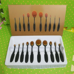 Wholesale Hair Oval - Makeup Brands Kylie Jenner 10pcs Oval Spectrum Foundation Brushes Sets Toothbrush Make up Brush Suit Beauty Cosmetics