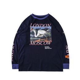 Хип-хоп длинные футболки онлайн-Цапля Престон футболки хип-хоп негабаритных уличная с длинными рукавами цапля Престон футболка кран черный цапля Престон футболка 2018