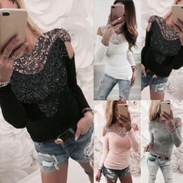 Wholesale Mesh Blouses - Women Long Sleeve Blouse Lace Mesh Stitching Shirt Hollow Out Tops Blouse Solid Cold Shoulder