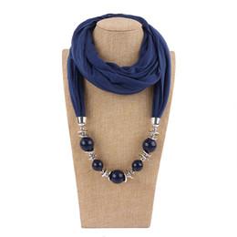 encantos cuadrados de tela Rebajas Venta al por mayor- Collar de la bufanda de moda colgante de las mujeres Grandes cuentas colgante de la bufanda de la joyería envoltura suave regalo de la joyería bohemia