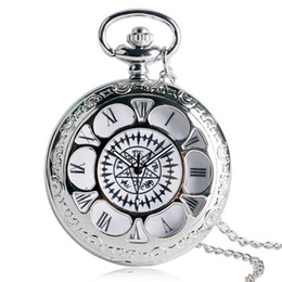 Wholesale Necklace For Teen - Japanese Anime Pocket Watch Hollow Floral Black Bulter Symbol Dial Slim Necklace Kuroshitsuji Cosplay Clock Cool Gifts for Teens
