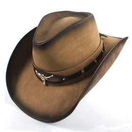 2018 Nueva Moda de Calidad Superior Sombrero de Vaquero Decoración de Metal  de Cuero de Ala Ancha Hombres Occidental Mujeres Headwear Cap 669e34907db3