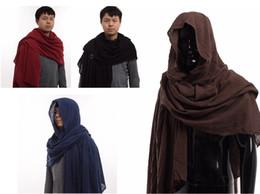 Wholesale medieval men - Vintage Post Apocalyptic shaman elven ranger Medieval Shawl Men's Cotton Brown Wrap Cloak Fast Shipment New