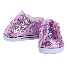 Wholesale Pink Doll Clothing - Baby Born Doll Clothes Cute fashion shoes pink Sequins canvas shoes Fit 43cm Zapf Baby Born 16 inch Doll Accessories