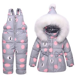ragazze calde giù giacca Sconti 2018 Hot Winter Coat Snowsuit Baby Suit Down Toddler Girls Abbigliamento invernale Outfits Snow Wear Tuta Giacca con cappuccio a pois