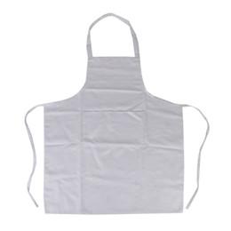 Wholesale White Cotton Aprons Wholesale - Wholesale-Halter-neck Style Sleeveless Kitchen Cooking Apron with Pocket Cooking Cotton Apron Bib(White)