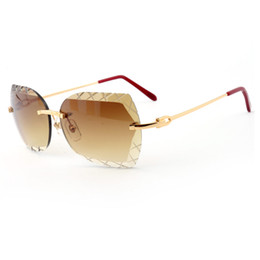 Wholesale Titanium Rimless Frames For Men - Luxury Metal Frame Sunglasses Brand Glasses Designer Sunglasses Fashion Mens Outdoor Accessories Classic Sunglasses for Men With Original Bo