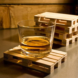 Wholesale Glass Drinks - 4pcs set Rectangle Mini Wooden Pallet Coaster Set Whiskey Wine Glass Cup Mat Pad Hot Cold Drink Wood Table Mat Bar Tool 0702397