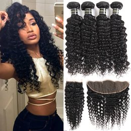 Wholesale Cheap Weave Closures - Brazilian Virgin Hair Deep Wave Bundles 4 deep curly bundles with closure Cheap Human Hair Weave Extensions and Ear to Ear Lace Frontal