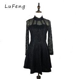 Wholesale gothic lolita blue dress - White Black Lace Dress Party Office Robe Sexy 2017 Vestido De Festa Evening Runway Lolita Fashion Gothic Club F6619-1215