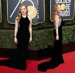 Wholesale Red Annuals - 2018 Jessica Chastain 75th Annual Golden Globe Awards Celebrity Beading Crystal Black Velvet Evening Party Red Carpet Gowns