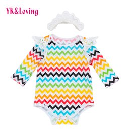 Wholesale Toddler Warm Clothes - Newborn girl Clothing Bodysuits Baby Girl Jumpsuits Headband Cotton Long Sleeves Stripe Warm Easter infant wave Soft Kids Toddler Clothes