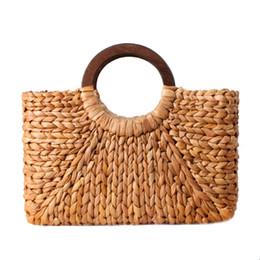Tessuti beach totes online-Donna Vintage Rattan Handbag Donna Bohemian Summer Beach Paglia Borse Lady Simple Weave Bag Handmade Casual Grande Tote SS3032