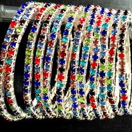 2019 petali di fiori marroni 20pcs unico singola fila multi-colore fascino bello pieno zircone braccialetti elastici accessori per ragazze brand new 2018 vendita calda all'ingrosso