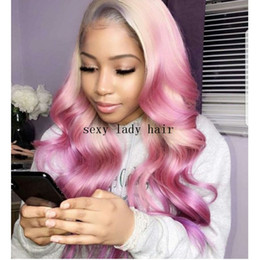 wig styles Coupons - New style Long wavy Synthetic Wigs blonde Ombre Pink lace front Wig synthetic heat resistant for Black Women can be braided